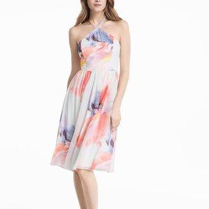 NWT WHBM CHIFFON WATERCOLOR PRINT HALTER DRESS